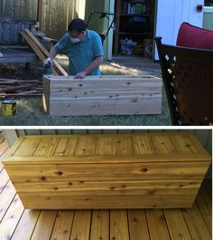 Hubby Mark has built a lovely storage box for our deck. So thankful for his skills!