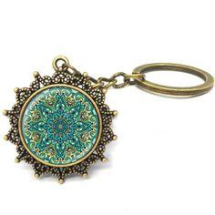 1 Pcs/Lot Art glass pendant Mandala Key chain Sacred geometry jewelry handmade Keychain New 2017 Key Ring Gifts