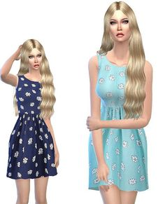 Sweet summer dresses in blue at Sims3oertchen via Sims 4 Updates
