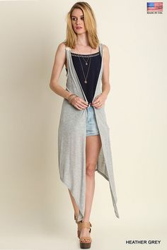 22511531fab3bd Umgee USA Ladies High Low Sleevless Vest Heather Grey Sizes S M L New   UmgeeUSA Heather Grey