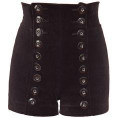 "Tamara Barnoff ""Brown Bunny"", ""Navy"" velvet shorts – Black (€82) ❤ liked on Polyvore featuring shorts, bottoms, pants, short, micro shorts, hot pants, high waisted stretch shorts, stretch shorts and navy shorts"