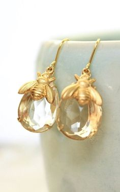 Honey Bee Earrings Summer Jewelry Gold Brass