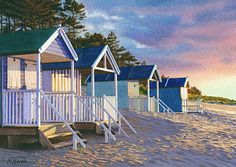 A watercolour painting of beach huts in evening sunlight at Wells-Next-The-Sea, Norfolk by Margaret Heath available as a limited-edition fine art print. Norfolk Beach, Norfolk Coast, Beach Huts Art, Beach Art, Watercolor Negative Painting, Watercolour, Short Break Holidays, Wells Next The Sea, Seaside Beach