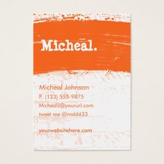 Orange Grunge Personal QR Large Business Card