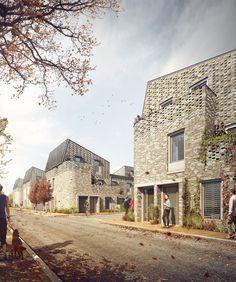 High density, urban social housing in Norwich - set to be the largest Passivhaus scheme in the UK. Social Housing Architecture, Brick Architecture, Architecture Visualization, Residential Architecture, Urban Village, Arch House, Brickwork, Exterior Design, Townhouse