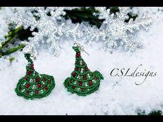 M Micro macrame 3D christmas tree earrings | Christmas - YouTube