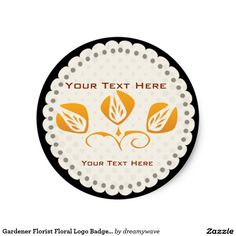 Gardener Florist Floral Logo Badge Orange Classic Round Sticker