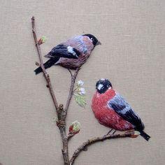 Trying to photograph my work. Stitch meet lens xx #stitch #bird #embroidery #photooftheday #bullfinches #flashbackfriday #happy