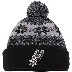 4b19c06b778 Mens San Antonio Spurs New Era Black Snowburst Cuffed Knit Hat with Pom