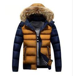 Men's Warm Hooded Down Winter Jacket 2 Tones