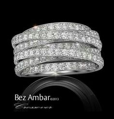 Possibly the best wedding band/ring ever. WIDE multilayered stacked texturized Wow Elegant, Beautiful pave 8 shanks 5 bands wide