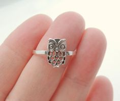 Sterling Silver Owl Ring Jewelry Silver Rings Owl by KissingRavens, $22.00 #accessories #lbloggers #fbloggers