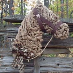 Order this Burlap Horse Head Wreath here: www.facebook.com/holidayhorsegifts