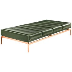 Olivera Chaise Longue or Daybed or Bench with Green Leather and Copper Base | From a unique collection of antique and modern chaises longues at https://www.1stdibs.com/furniture/seating/chaises-longues/