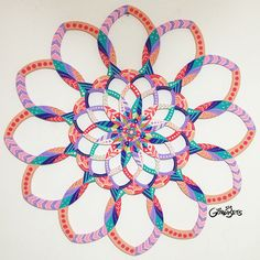 Mandala Flor Mística  Mystical Flower Mandala Wooden Mandala painted in acrylic.  Size: 85cm x 85cm Technique: Acrylic Brazil 2016