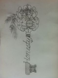 Skeleton key, tattoo sketch. Honesty Tattoos | tattoos picture tattoo sketches