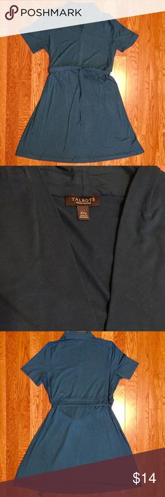 "Talbots Casual Dress Talbots very dark teal-blue (pics 1 and 3 are accurate color capture) short sleeve, tie-front, v-neck, shirt-style dress. Measures 42"" from shoulder to bottom hem. Pullover style, no zippers. Size 2X Petite. Talbots Dresses"