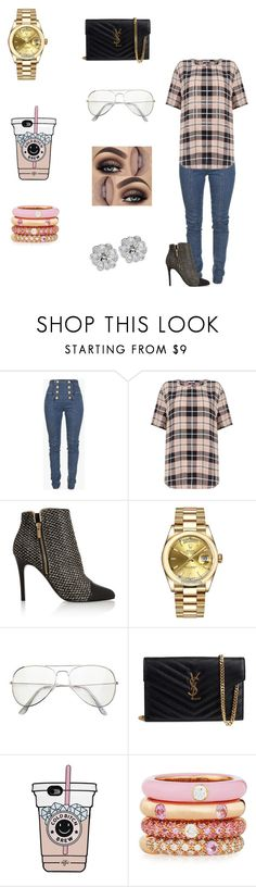 """Random 👑"" by dajahknox ❤ liked on Polyvore featuring Balmain, Equipment, Lanvin, Rolex, Yves Saint Laurent and Adolfo Courrier"