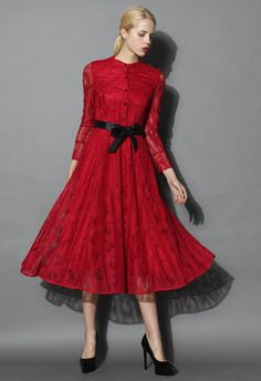 Luxe Up in Wine Red Full Lace Dress - New Arrivals - Retro, Indie and Unique Fashion