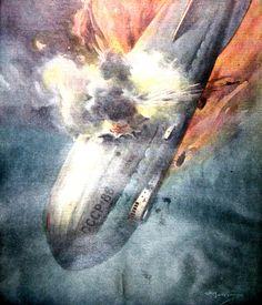 """La Domenica del Corriere Anno XXXX n.8 20 Febbraio 1938 - XVI - (prima pagina) """"Un dirigibile sovietico che era partito da Mosca per recare soccorso a un gruppo di esploratori russi, che si trova in pericolo sui ghiacci polari, si è incendiato per ragioni sconosciute ed è precipitato sulla penisola di Murmansk. Tredici uomini dell'equipaggio sono morti e sei si sono salvati, gettandosi dall'areonave in fiamme"""""""
