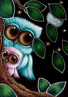 OWLS ON A WINDY NIGHT - by artist Cyra R. Cancel