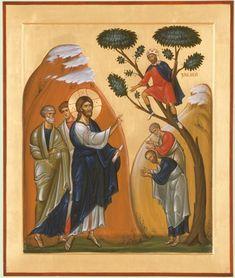 The Calling of Zacchaeus Orthodox mounted icon Religious Images, Religious Icons, Religious Art, Byzantine Icons, Byzantine Art, Christian Images, Christian Art, Zacchaeus, Life Of Christ