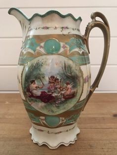 Vintage Chocolate Pot, Woodland Scene w/ Woman and Cherubs. Chocolate Cups, Chocolate Coffee, Pet Couch Cover, Cross Stitch Bird, Vintage Cross Stitches, Pot Sets, Cherubs, Vintage Coffee, Dorm Decorations