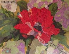 Celebrate Today Red Poppy by Nancy Medina Mixed Media, Torn Paper Collage Painting ~ 11 x 14 www.nancymedina.com