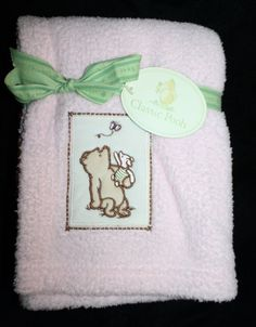 Winnie the Pooh Piglet Butterfly Pink Baby Girl Blanket soft plush Micro Balboa #Disney #ClassicPooh #WinnieThePooh #Piglet