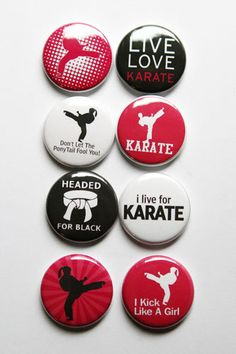 These are one inch flair buttons. There are 8 buttons in this set. Karate Party, Karate Birthday, Karate Quotes, Goju Ryu, Kenpo Karate, Tang Soo Do, Bff, Karate Girl, Martial