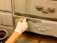 DIY- How to Dark Wax Chalk Painted furniture
