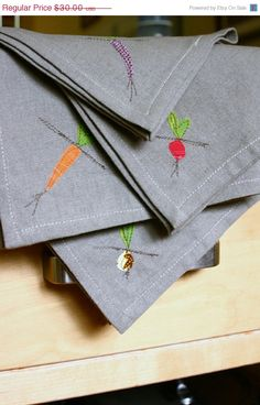 Cloth Napkins with vegetable detail