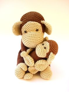 These adorable monkeys are crocheted using a 100% cotton yarn and fiberfill stuffing. Mommy chimp measures 18 cm ( 7'' ) height and 8 cm ( 3'' ) width, and baby chimp measures 12 cm ( 5'' ) height and