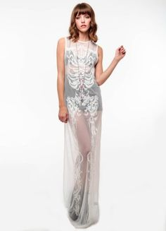 4c4b961fb1ff Relaxed full length dress with silk satin bound neck and armholes.  Exclusive skeletal lace design on sheer mesh. Very delicate garment. nylon  lace length ...