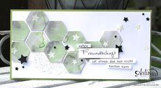 Stamping & Blogging DT Sketch100 FreundschaftsKarte mit Sechseck-Stanzer und Aquarelltechnik