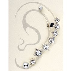Silver Tone Clear Septenary Ear Cuff and Stud Earring Set   Body Candy Body Jewelry