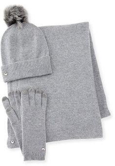 UGG Wool-Blend Gloves, Beanie & Scarf, Gray