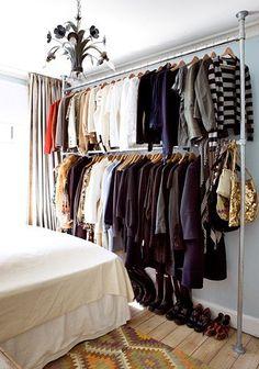 Small space living inspiration - no closet