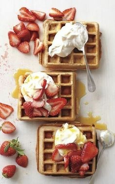 Nothing like a rich breakfast or strawberries, cream, waffles and syrup any time of day to #indulge. #food #foodie #foodporn #photography #breakfast #waffles - rossdujour.com