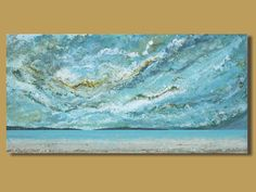 panoramic painting of ocean abstract by SageMountainStudio on Etsy