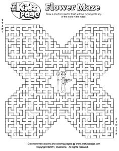 free mazes | Printable Flower Maze - Free Coloring Pages for Kids - Printable ...