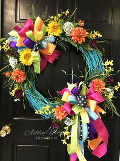 Turquoise Round Floral Spring-Summer Wreath A bright and colorful wreath to last all spring and summer! Built on a sprayed round grapevin Wreath Crafts, Diy Wreath, Grapevine Wreath, Diy Crafts, Easter Wreaths, Fall Wreaths, Turquoise Wreath, Straw Wreath, Deco Mesh Wreaths