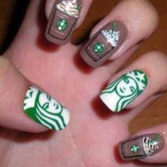 Nails #cute #starbucks #nailart lol! this is cute! I wouldn't do it, but.......!