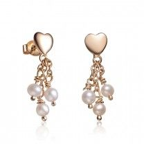 Vixity Collections Sterling Silver Gold Plated Heart Shape Pearl Drop Earrings