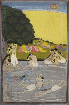 Krishna bathing with the Gopis in the river Yamuna, India, Rajasthan, 18th century