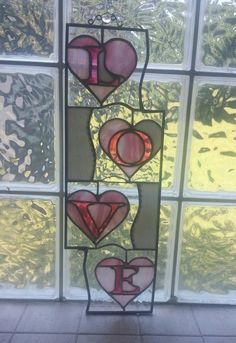 Stained Glass Pink White Heart Love Panel by IBGCreativeDesign