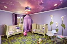 An Exotic Purple Ceiling For Baby Nursery Room With Charming Flower Wallpaper And Unique Twin Cradle Also Purple Curtain Corner Area With Green Rug How to Decorate the Nursery? Design and Safety for Your Baby in Great Ways Baby Nursery Ceiling Murals, Bedroom Ceiling, Ceiling Decor, Ceiling Design, Ceiling Ideas, Sky Ceiling, Wall Murals, Ceiling Painting, Gypsum Ceiling