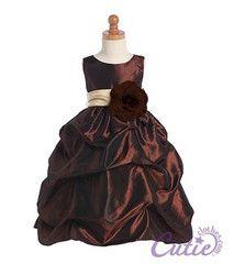 Brown  flower girl dress