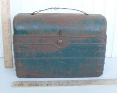 Vintage Metal Lunch Box Green With Primitive Handle by thejunkman