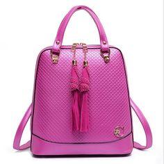 Women Backpack With Tassel Multi-Functional Leather Backpack Shoulder Girls Gift